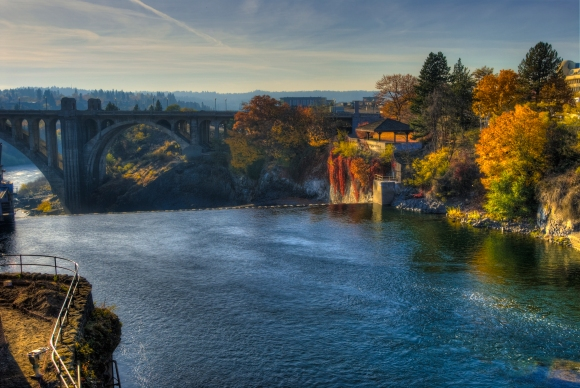 The Spokane River is 180km long and flows right through the heart of the city.
